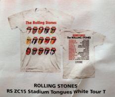 "The Rolling Stones  2015 Zip Code Tour Lot Of 2 Exclusive T-Shirts (Still Sealed !!) -  ""2015 Tour Stadium Tongues White""  &  ""2015 Tour Logo Rainbow Tiedye"""