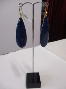 18 kt gold earrings with blue agate - Length: 4.7 cm