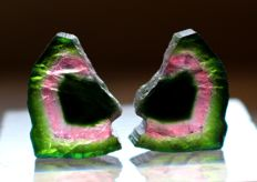 Tri-Color Perfect and rare shape of Pair Watermelon Tourmaline Slices - 19ct (2)
