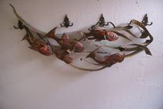 Unknown artist - vintage decorative piece of 'fish in a grid' wall art, made of brass and copper