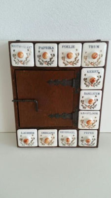 Old-Dutch Herbs cabinet (wood and porcelain)