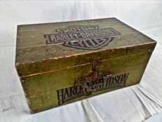Old wooden chest with H-D print garage style wooden box.