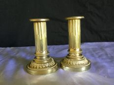 Pair of bronze candlesticks in Louis XVI style - Modified as lamp - France - ca. 1880