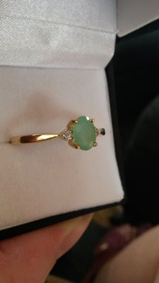 Authentic Stunning and Rare Brazillian Paraiba Opal with white sapphire Dress Ring gold ring No Reserve