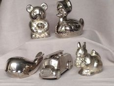 Nice collection of 5 old silver plated piggy banks
