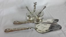 Cake cutlery set - Salt and Pepper - 800/1000 silver plated
