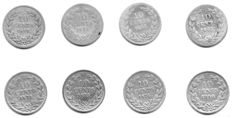 The Netherlands, 10 cent, 1849-1890, (eight coins), William III, silver