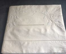 Used very little, top sheet for double bed, cotton/linen mix - early 1900.