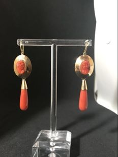 Yellow gold earrings with Sardinian coral – 19th century