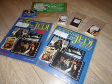 Panini - Starwars - Versions UK + GER - Both empty albums + 1 complete  loose sticker set + pack + kiosk seal.