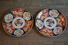 Monumental pair of Imari plates (37cms) - Japan - Mid 19th century