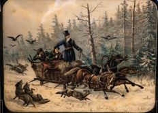 Unknown artist - Hunting scene with wolves in Tsar Russia - circa 1886