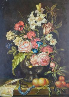 Unknown. (20th century) - A still life of summer flowers and fruit.