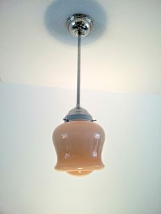 Hanging light with chromed fixture and with Art Deco glass