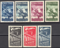 Spain 1939 - Aeroplanes and Landscapes, series not sold a second time, print run signed F. del Tarre - Edifil No. NE 39s/45s.