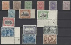 OBP numbers 135 to 149, King Albert I for the lower values, various subjects for the others, very good centring