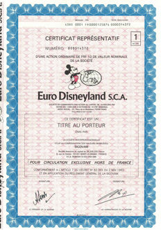 Disney, Walt - 10 Certificates of 1 Share to Bearer - Euro Disneyland S.C.A - (1980's)