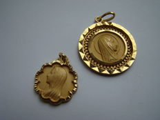 Two Gold Mary Pendants