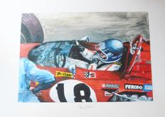 Original Painting: Jackie Ickx in his Ferrari 312B from 1970 (94 x 63 cm) signed by the artist