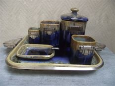 Gustave Dale - Art deco smoke set with silvered decoration