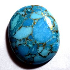 Natural blue golden flakes turquoise - 31,37 x 26,60 x 7,05 mm - 41,40 ct