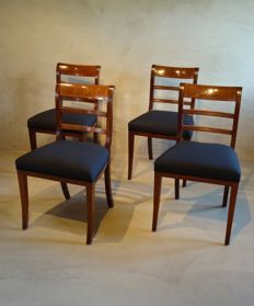 A set of four Empire mahogany and parqueterie (dining room) chairs - the Netherlands - ca. 1800/1810