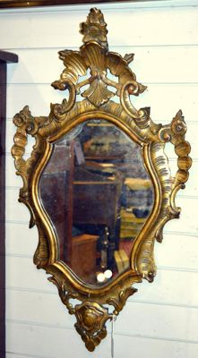 Frame / altar card / vintage gold leaf mirror entirely carved in walnut wood and decorated - Italy - ca. 1920