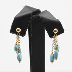 18 kt gold - Earrings - Turquoise - Length 31.47 mm (approx.).