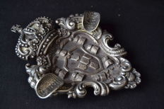 Silver astray - Portuguese coat of arms - original coins details , Portugal 19th/20th century