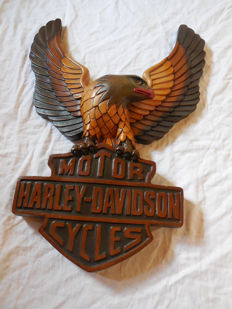 Old KS Harley Davidson advertising sign with golden eagle symbol - from 2nd half of the 20th century.