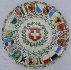 Thoune Majolica Plate With The Swiss Flag