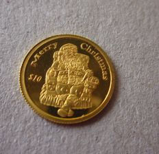 "Liberia – 10 Dollars ""Merry Christmas"", 2005 – Gold, 1/25 oz"