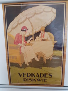Verkade's Biskwie Advertising Lithograph 1970s