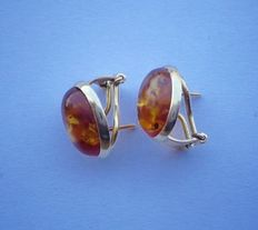 Pair of 18 kt yellow gold earrings with natural amber.