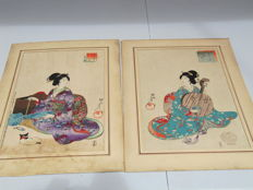Two prints by Toyohara Chikanobu (1838-1912) - Japan - 1896