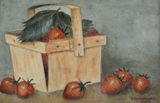 W. Hargreaves (19th century) - A basket of fresh strawberries