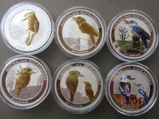 Australia - 1 Dollar 2008/2017 'Kookaburra' (lot of 6 coins) gilded / colored - 1oz Silver