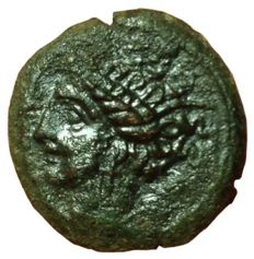 Greek Antiquity - Zeugitania, Carthage - AE (16,5mm; 2,34g.), circa 400-350 BC - Uncertain (sicilian?) mint - Head Tanit / Horse - SNG Cop 109-19