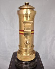 Petrol lighter postbox XXXL - Bronze and gold Ormulu, tabletop - 1940 - XXXL Made in Spain + Luxury case