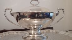 "stunning large silver plated soup tureen georgian style by atkin bro""s c1900/1923."
