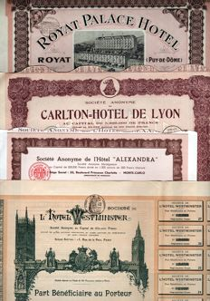 France - Lot of 4 Decorative French Hotel Share Certificates - 1904-1930