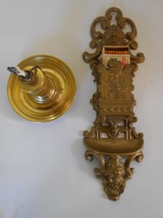Copper table lighter PAT ANG. - made in Austria - ca 1910/20 along with matchstick holder.