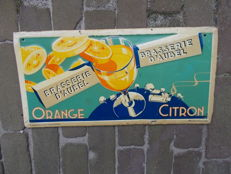 "Old tin advertising sign for ""Brasserie D'aubel"" citron orange - 1947"