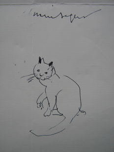 Marnix Gijsen - Two signed letters with cat drawing - 1959