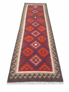 NO RESERVE ! DOUBLE FACE Hand Woven Afghan Maimana Kilim Carpet Runner Rug 294 cm x 82 cm