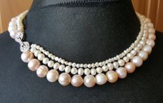 925 silver 3 strand cultured freswater pearl necklace, length 46cm
