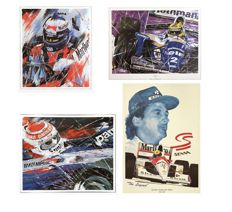 4 lithographs about Formula 1 by Eric Jan Kremer with featuring Alain Prost, Nelson Piquet & 2X Ayrton Senna
