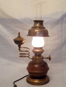 Brass and wooden oil lamp - electric - The Netherlands - early 20th century