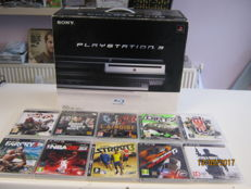 Sony playstation 3 boxed -RARE 60gb this plays also ps2 games. Incl 10 games and controller
