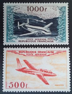 France 1954 - airmail, 500 f. and 1000 f. prototypes, signed Calves with digital certificate - Yvert no. 32 and 33
